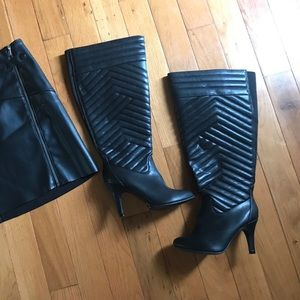 Torrid black quilted over the knee boots